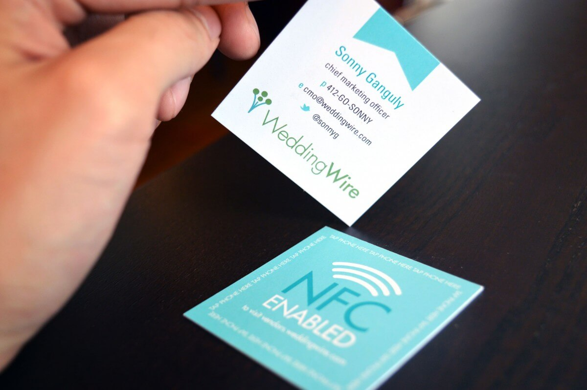 Custom NFC Business Cards - WeddingWire - hands on