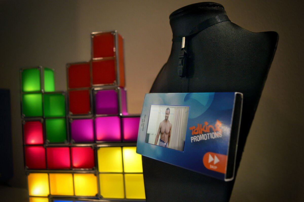 Talking Promotions wearable media player.