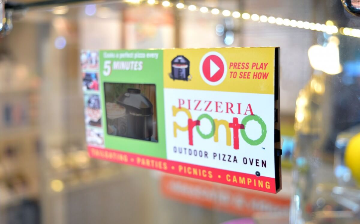 Pizzeria Pronto LCD video shelf talker.