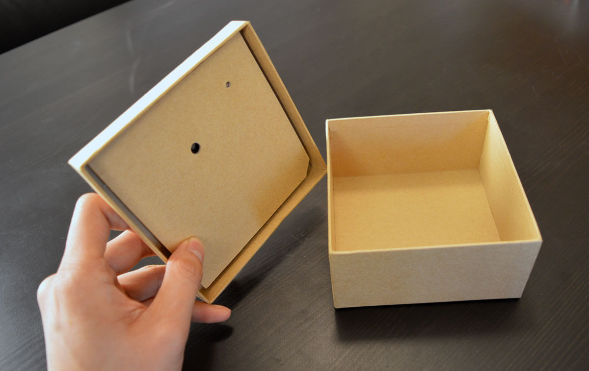 Light activated sound module used in a box.