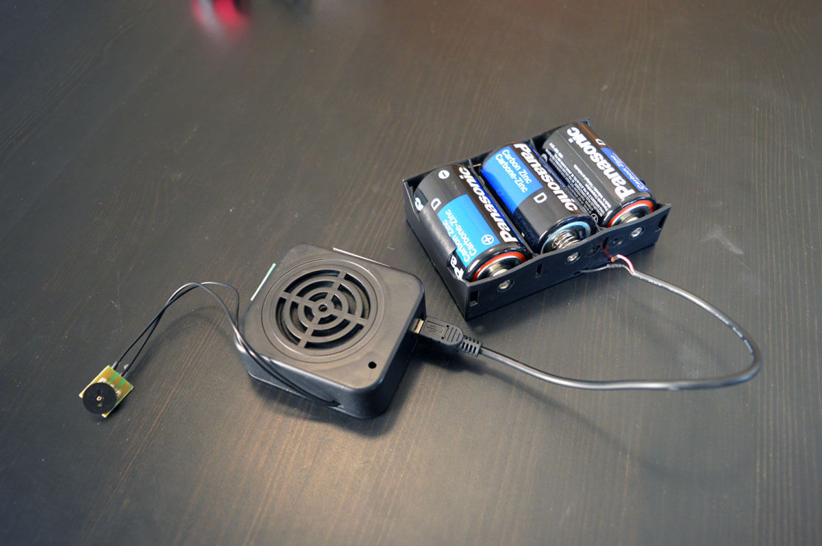 Motion activated sound player with D cell batteries