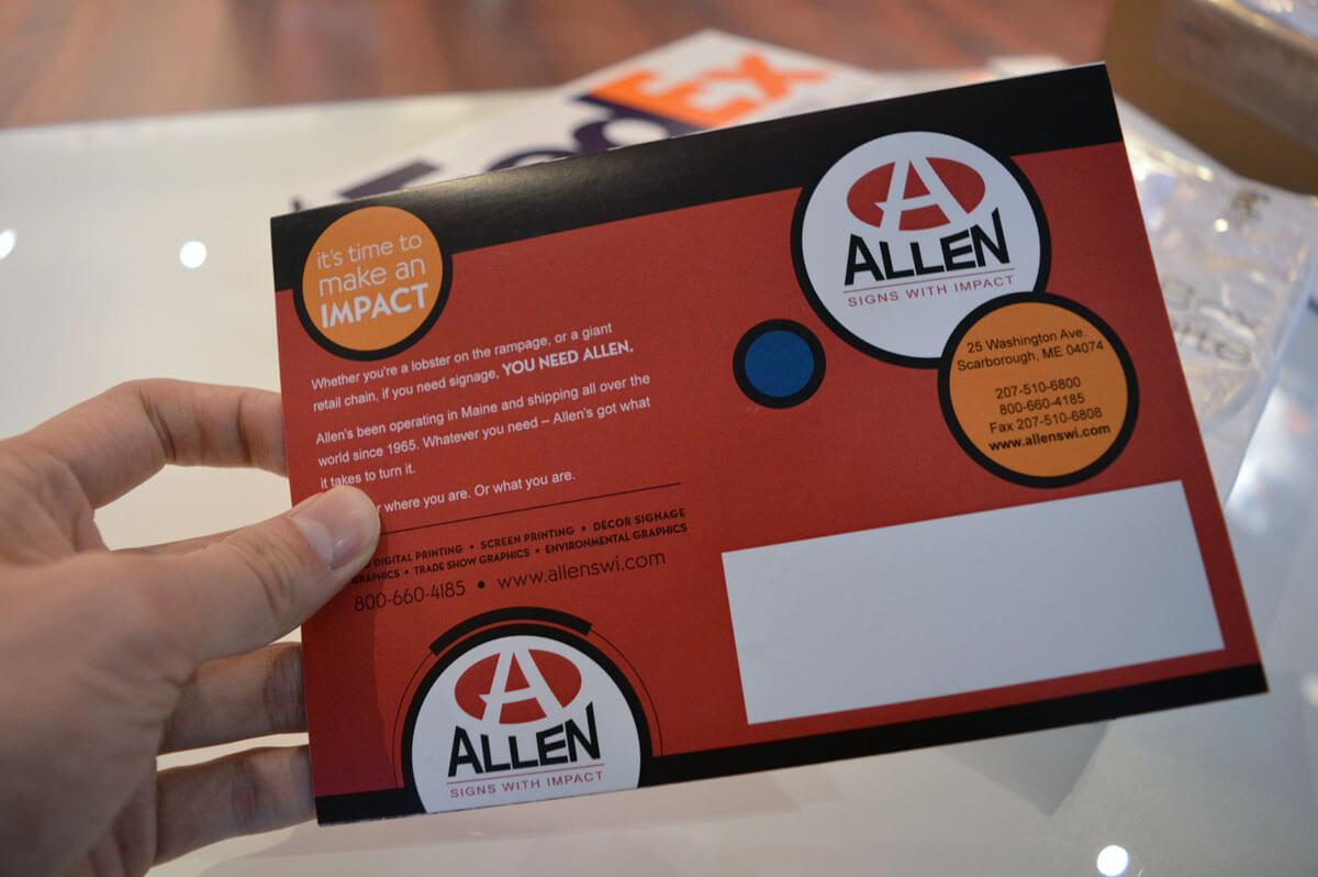 Allen singing postcard back