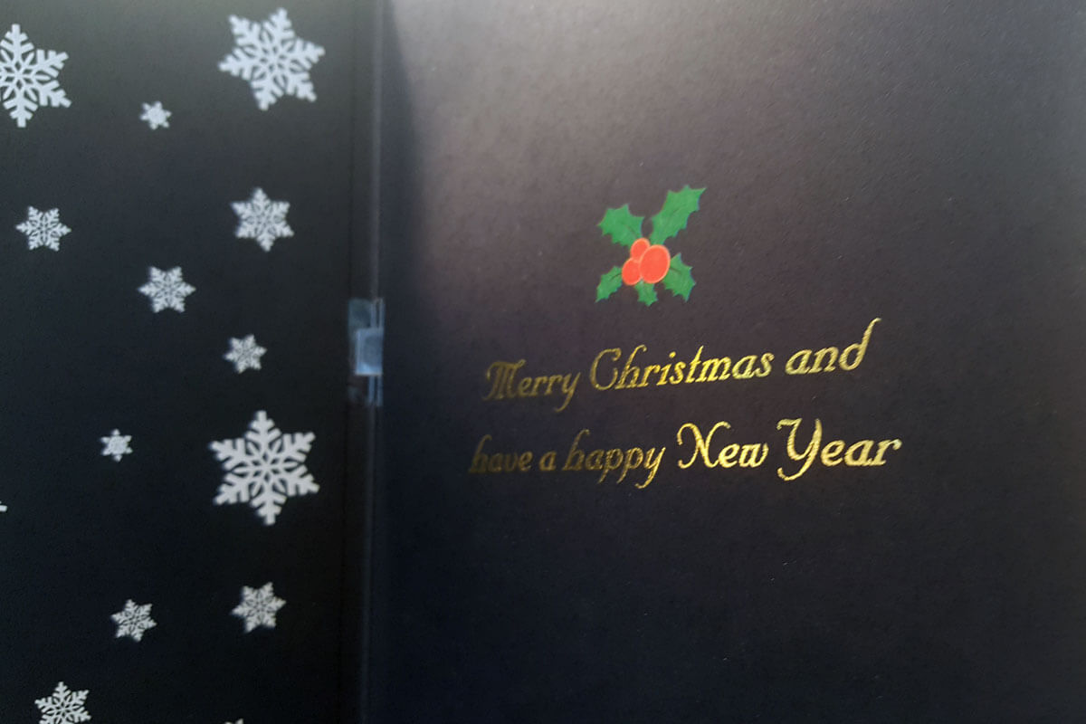 Christmas custom music cards in black paper